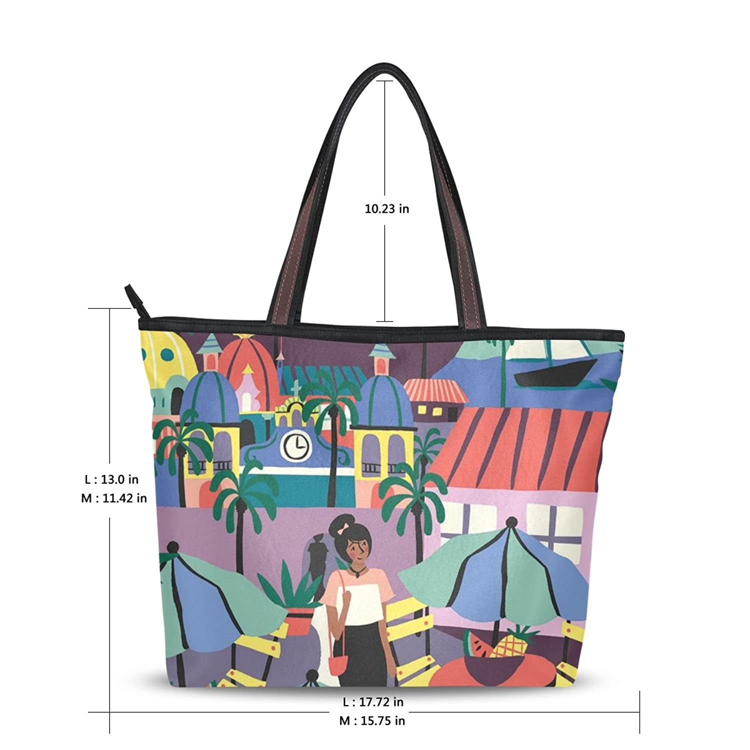 LEEZONE Casual Shoulder Handbag with Leisurely Life Printing for Femal(Women,Lady,Girl)