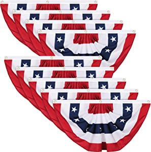 Tatuo Patriotic Decorations, 4th of July Pleated Fan Flags American US Bunting Flag Stars and Stripes Flag Banner for Independence Day Memorial Day and Labour Day (9 Pieces,1.5 x 3 feet)