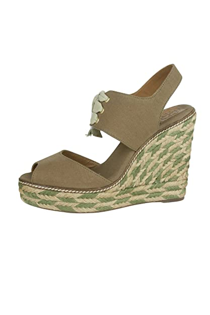 83f49e5fc91 Tory Burch Womens Khaki Liney High Canvas Wedge Espadrille Sandals 10