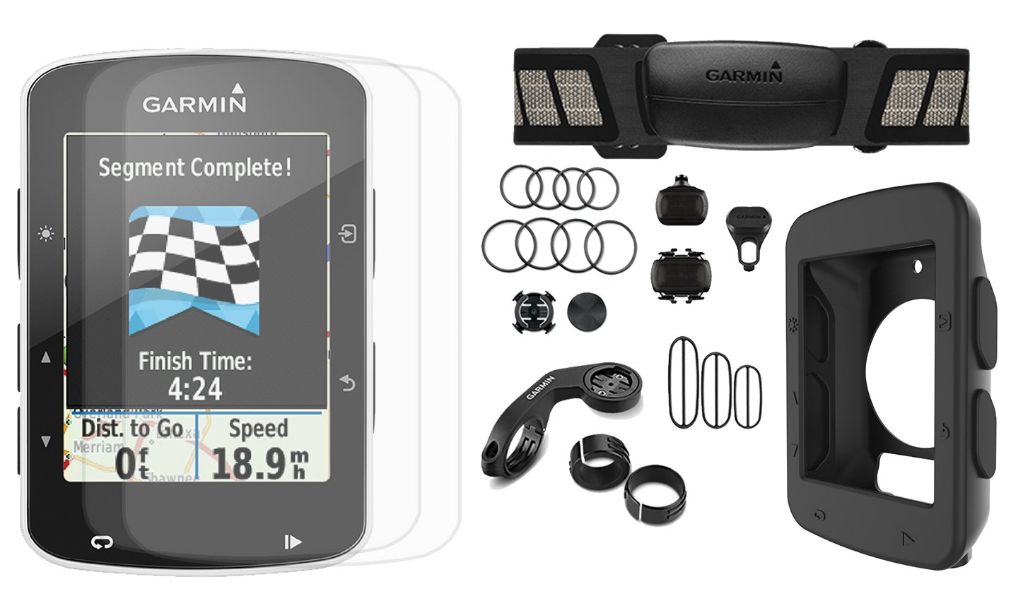 Garmin Edge 520 Cycle Bundle | with PlayBetter Silicone Case & HD Glass Screen Protectors (2-Pack) | Bike Mounts & USB Cable | GPS Bike Computer (+Chest Strap HRM +Speed/Cadence Sensors, Black Case) by PlayBetter