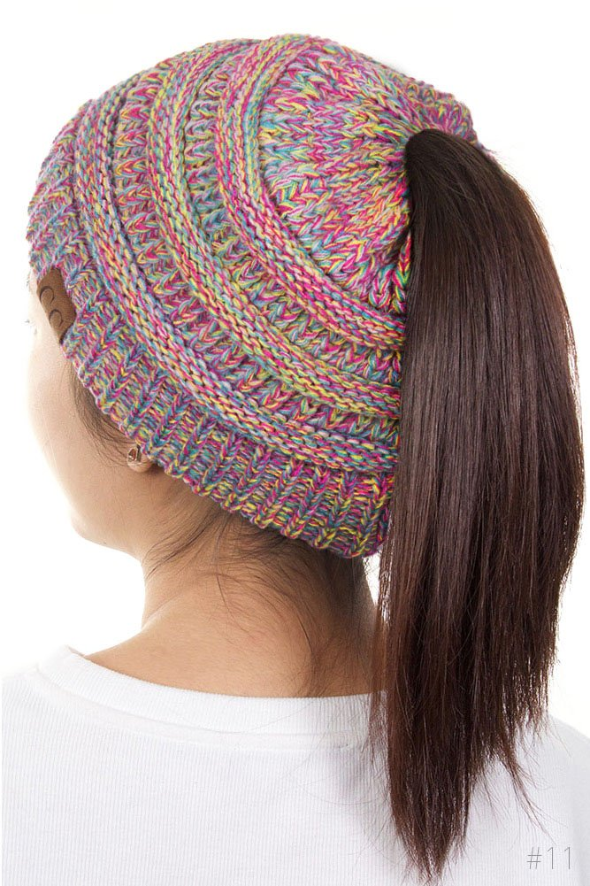 ScarvesMe C.C Four Tone Beanietail Ponytail Messy Bun Solid Ribbed Beanie Hat Cap (11)