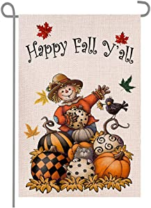 Happy Happy Fall Y'all Scarecrow Pumpkins Maple Leaves Double Sided Burlap Garden Flags, Seasonal Halloween Thanksgiving Day Porch Patio Farmhouse Yard Outdoor Decorative 12 x 18 Inch