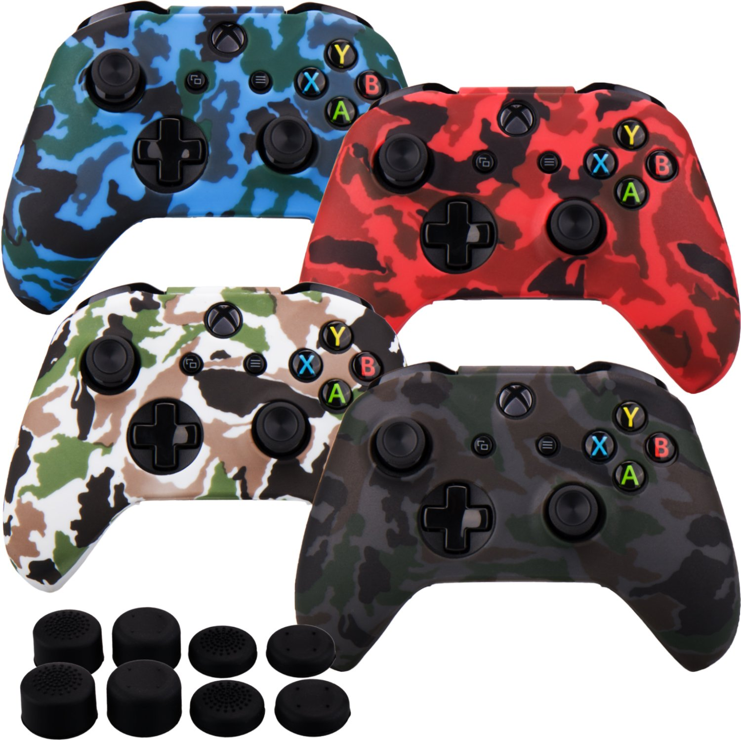 FPS PRO extra height thumb grips x 8 MXRC Silicone rubber cover skin case anti-slip STUDDED Customize for Xbox One//S//X controller x 2 black /& white