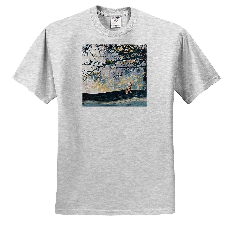 T-Shirts Kitten Looking Up Abstract Aqua Yellow Design 3dRose Beverly Turner Bird Design Pretty Bird in Tree
