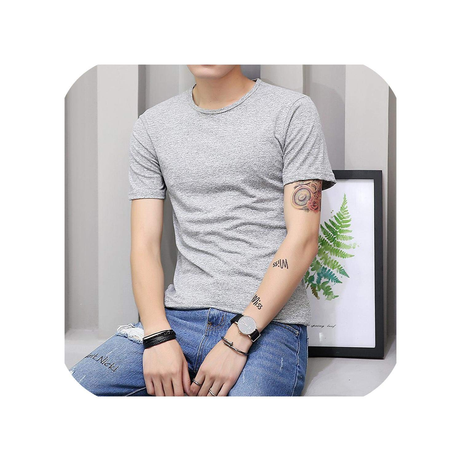 Men O Neck Polyester Mens T Shirt Summer Cool Tee Male Slim Casual Boys Tee Shirts