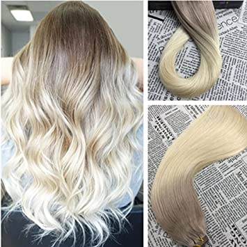 Amazon moresoo 14 inch dip dye hair extensions tape in ash moresoo 14 inch dip dye hair extensions tape in ash blonde 18 fading to bleach pmusecretfo Gallery