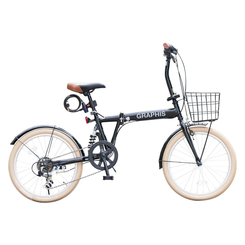 GRAPHIS(グラフィス) 折りたたみ自転車20インチ 6段変速 GR-777 B01I12V016 ブラッククリーム ブラッククリーム