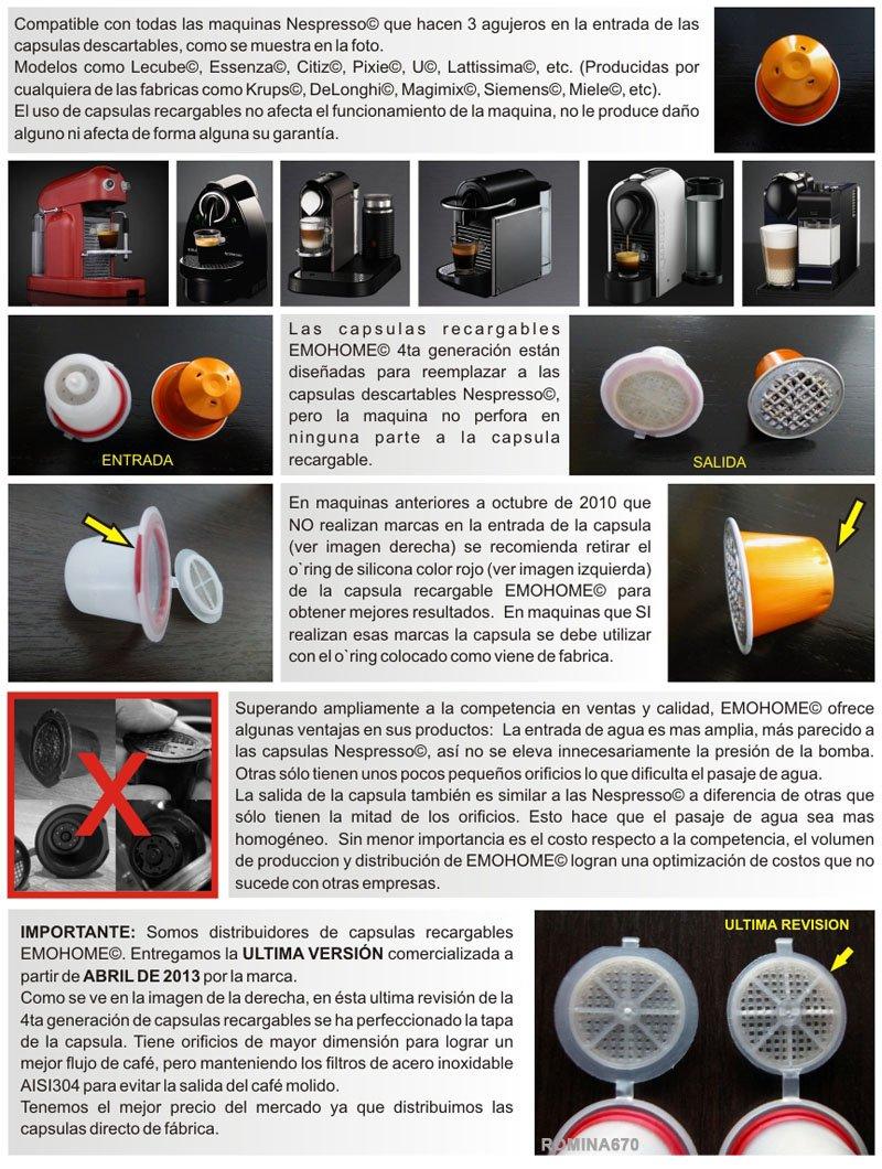 CAPSULAS RELLENABLES REULIZABLES DE CAFE MARCA EMOHOME 4ª ...