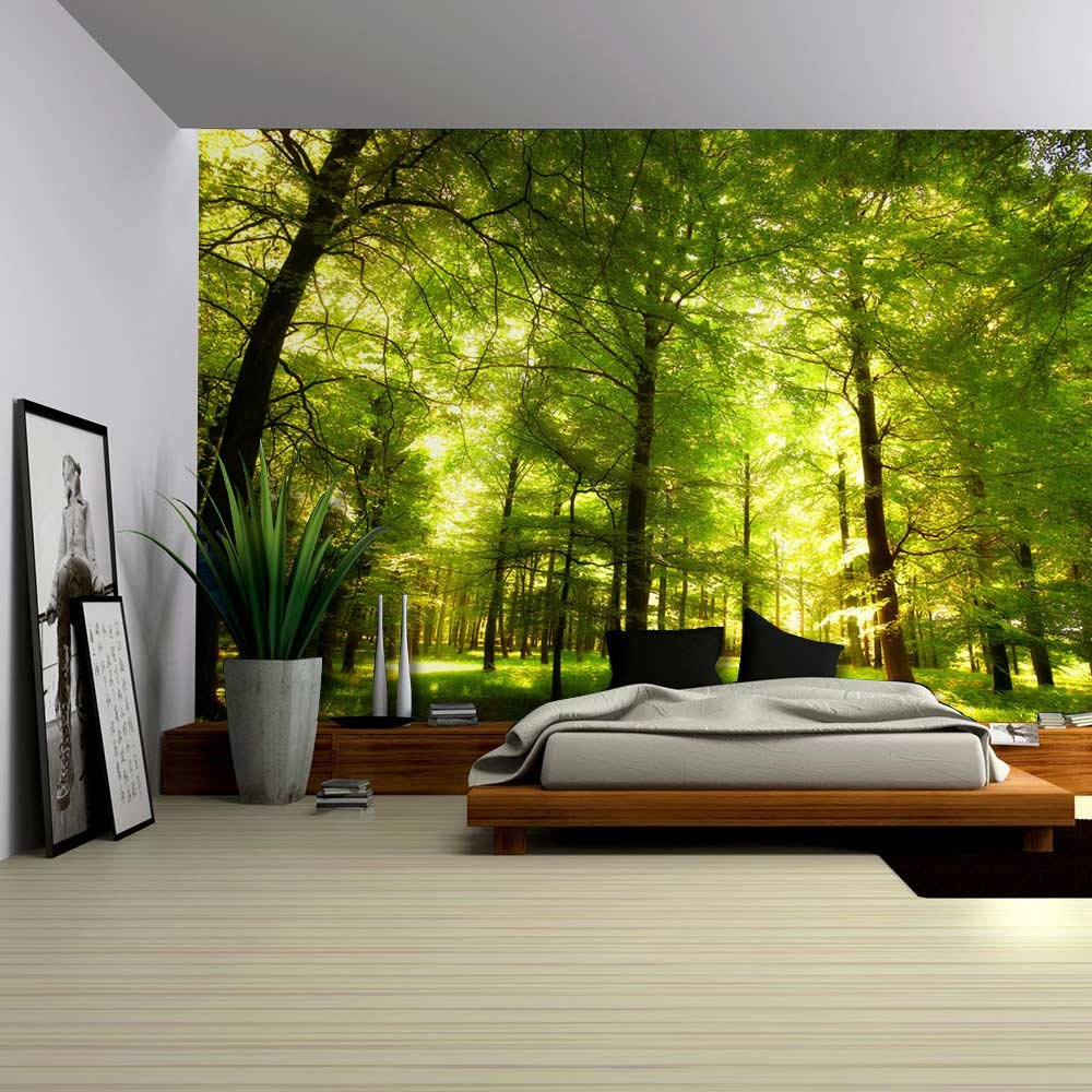 Crowded forest mural wall mural removable sticker home for Nature room wallpaper