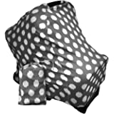 Baby Car Seat Canopy | Nursing Cover | Multi use 4-in-1| Stretchable and Soft | Nursing Wrap | Shopping Cart Cover | High Chair Cover | Boy or Girl Baby Shower Gift | (Gray and White)
