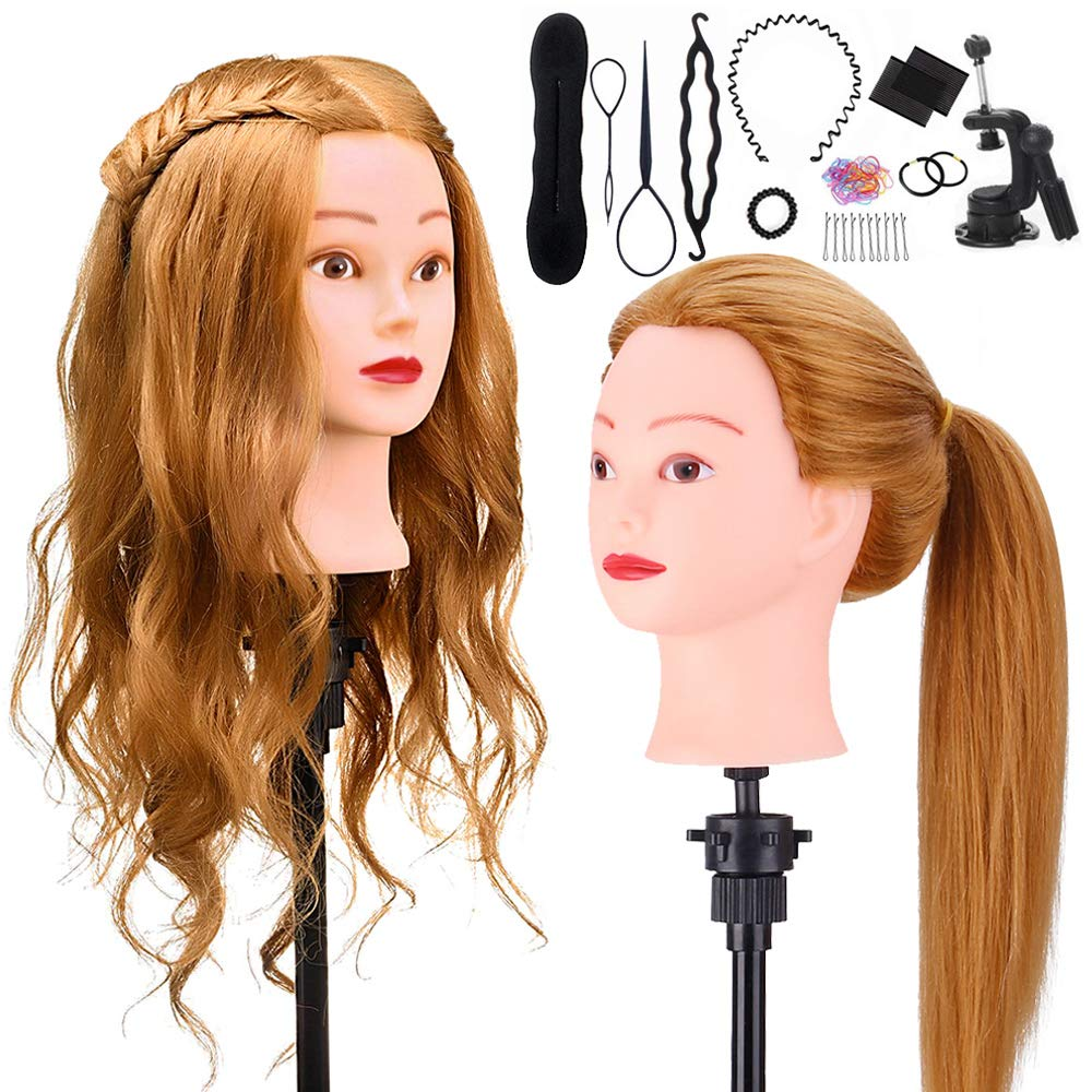 "Mannequin Head with 60% Human Hair, TopDirect 20"" Blonde Real Hair Cosmetology Mannequin Head Hair Styling Hairdressing Practice Training Doll Heads with Clamp Holder and Tools"