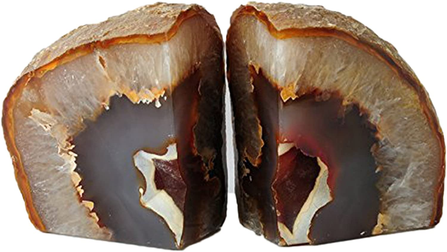 AMOYSTONE 1 Pair Heavy Duty Natural Agate Bookends for Home and Office Decor 6-8 lbs with Non-Slip mat