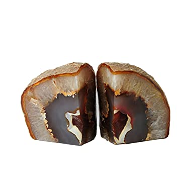 Amoystone Agate Natural Bookends Pair, Hand Made Polished Bookends for Rock Collectors 4-6 lbs
