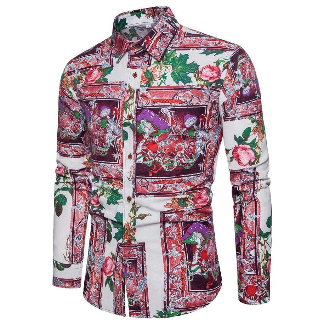 Mens Personality Summer Casual Slim Long Sleeve Shirt Top Blouse Fit Casual Shirt M L XL 2XL 3XL 4XL 5XL