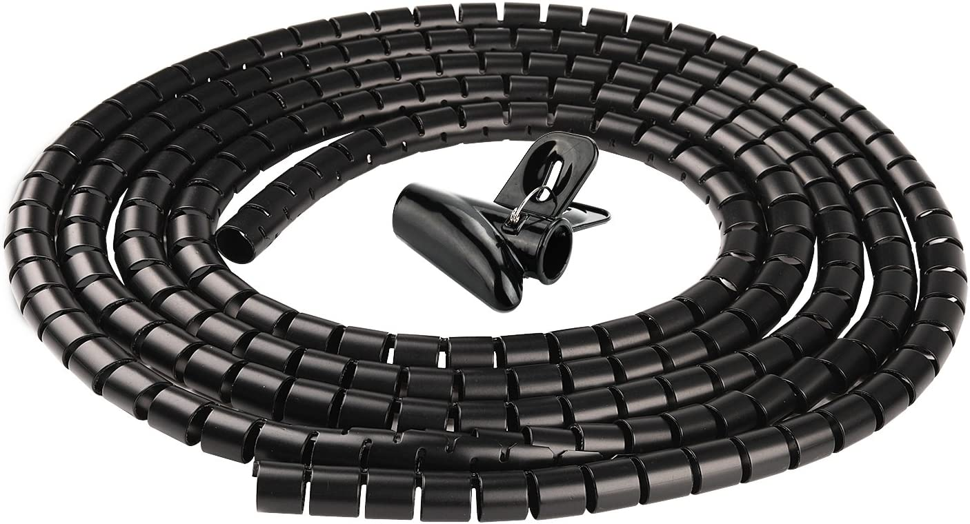 Chengsi Cable Organizer Coiled Tube Sleeve Cable Cable Management Sleeve (Black Length118.1inches Diameter0.62inches)