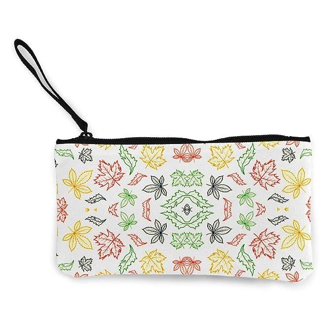 Womens Canvas Coin Case Zipper Small Purse Wallets Flowers Pattern