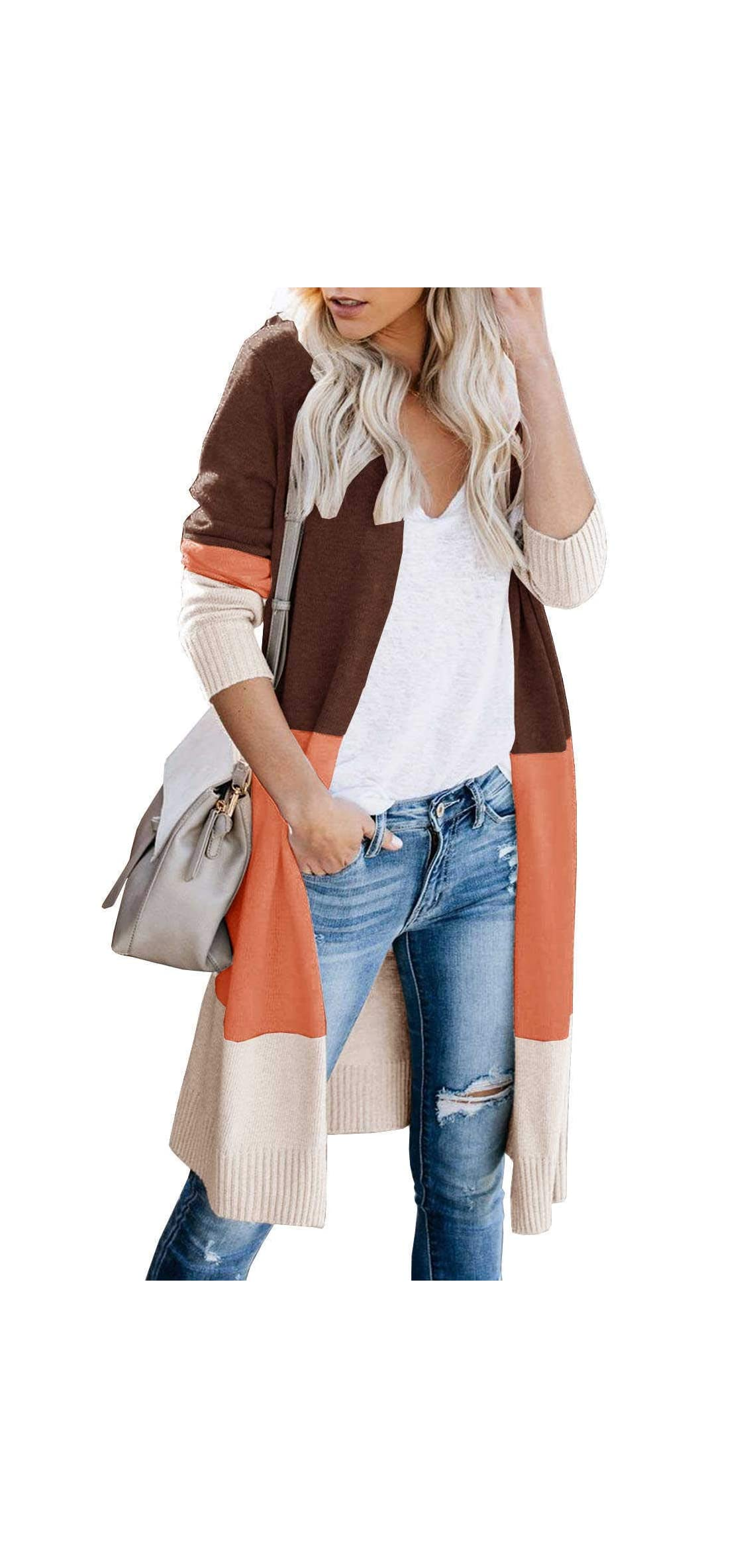 Womens Soft Boho Colorblock Cardigan Sweaters Long Loose