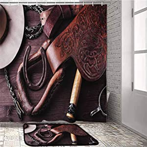 Western Kids Bathroom Sets with Shower Curtain and Rugs and Accessories Clothes and Accessories for Horse Riding with Kitsch Details Rural Sports Themed Art Office Chair mat for Carpet Brown