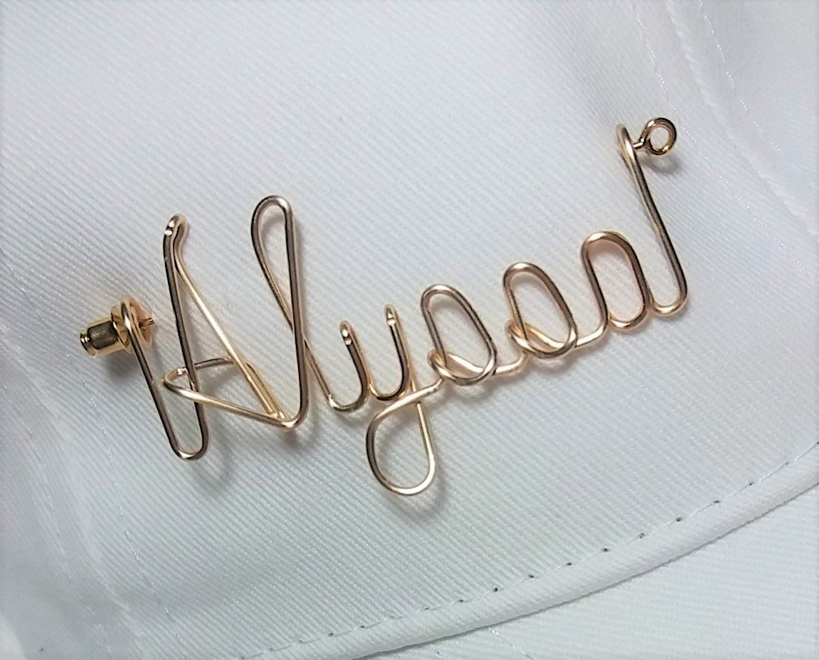 Golf Hat Visor Cap Name Pin - Sports Pin - Brooch Lapel Scarf Badge Personalized Any Name Club or Nickname