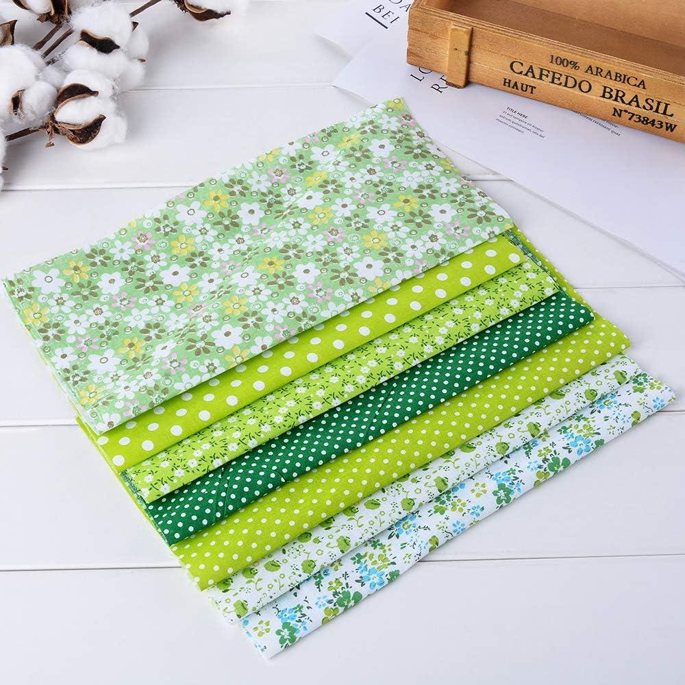 Souarts 7pcs Cotton Floral Fabric Bundles Quilting Sewing Patchwork Cloths DIY Craft Red Gray 50x80cm