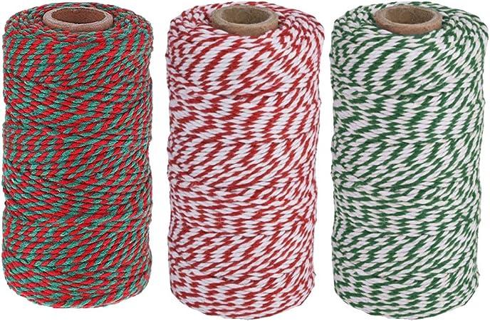Rouge Blanc /& Vert No.5 Coton Noël Papier Cadeau ficelle//String 100 M Bobine