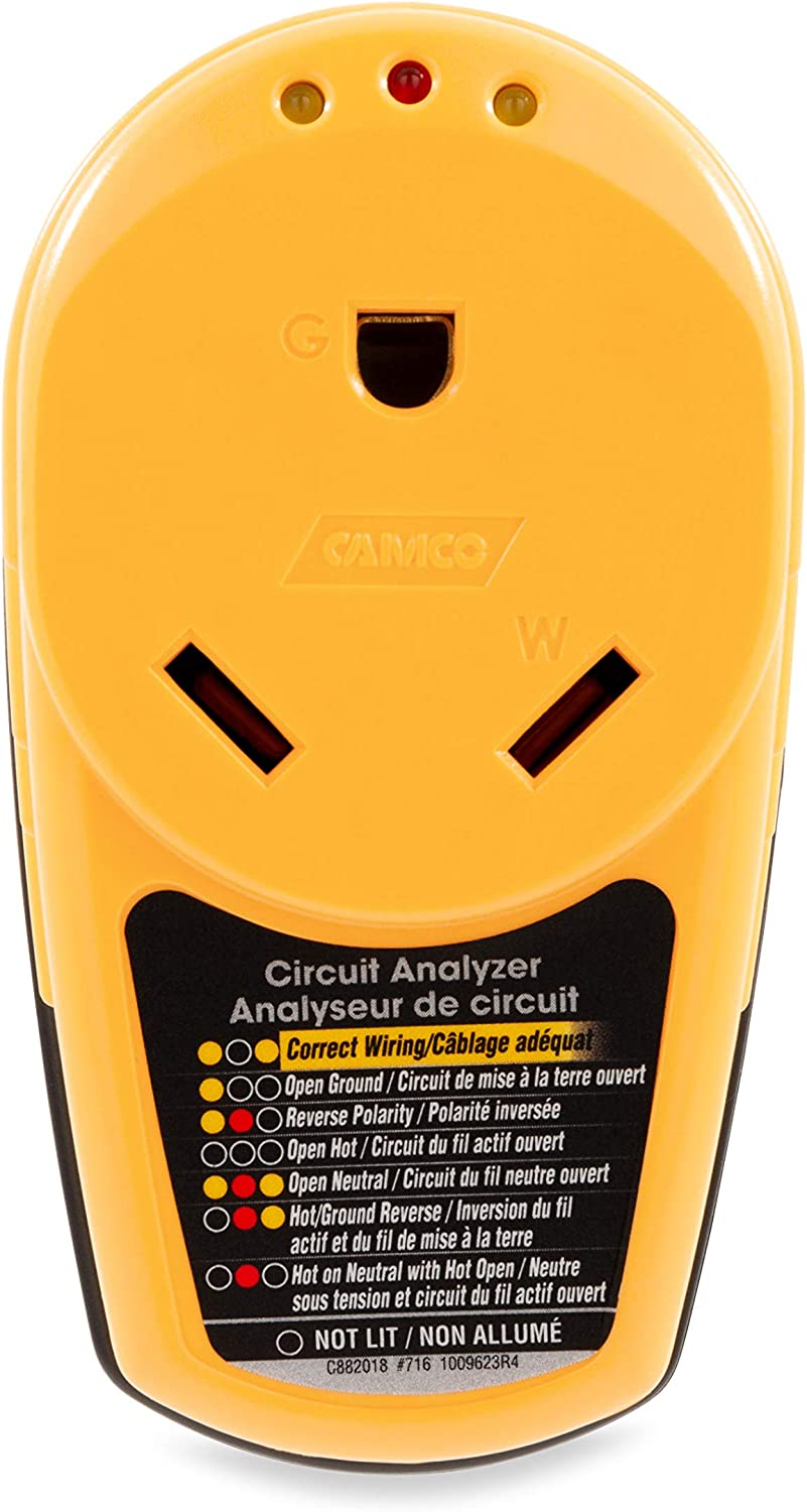 Male to 30 Amp Female 55310 Camco Adapter PowerDefender Circuit Analyzer with Integrated Surge Protection and Indicator Lights