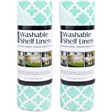 "DII  Washable Non Adhesive, Smooth Top, Cut to Fit and Washable Shelf or Refrigerator Liner Rolls, 12"" by 10, Feet, Aqua Lattice, Set of 2"