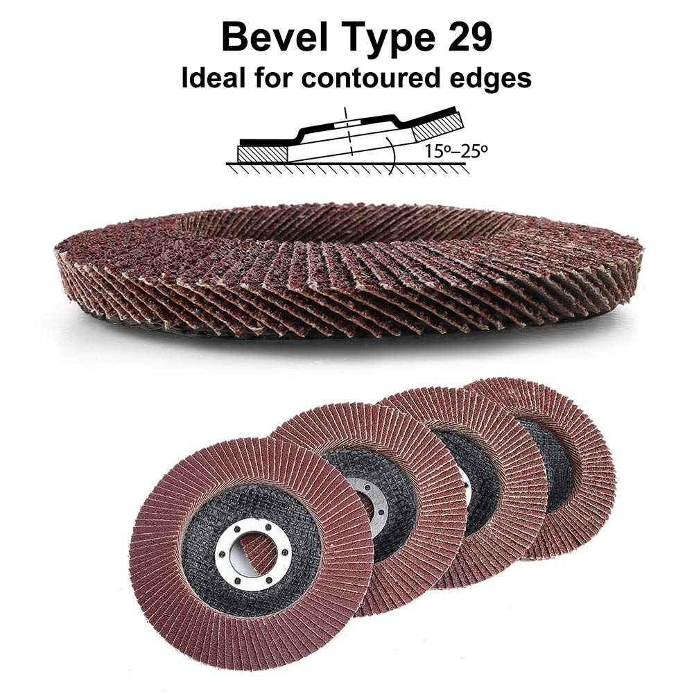 4.5 Inch Flap Discs Type 29 High Density Jumbo Flap Sanding Wheels Aluminum Oxide Abrasives by LotFancy 20PCS 40 60 80 120 Grit Assorted Sanding Grinding Wheels