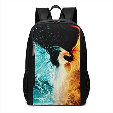Abstract Phoenix Bird Oversized Travel Bag Casual Waterproof Adjustable Shoulder Strap Schoolbag for Teenagers and Adults