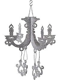 Paper chandelier amazon cardboard silver glitter chandelier mozeypictures Choice Image