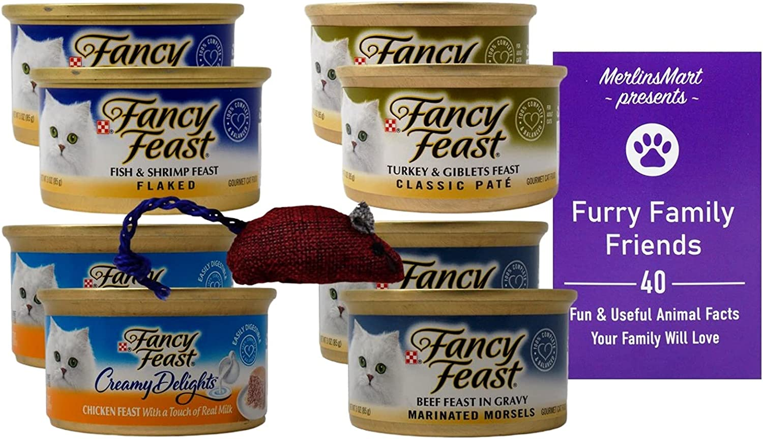 Fancy Feast Adult Cat Food 4 Flavor 8 Can Variety (2) Each: Flaked Fish Shrimp, Creamy Chicken, Turkey Giblets Pate, Marinated Beef (3 Ounces) - Plus Catnip Toy and Fun Facts Booklet Bundle