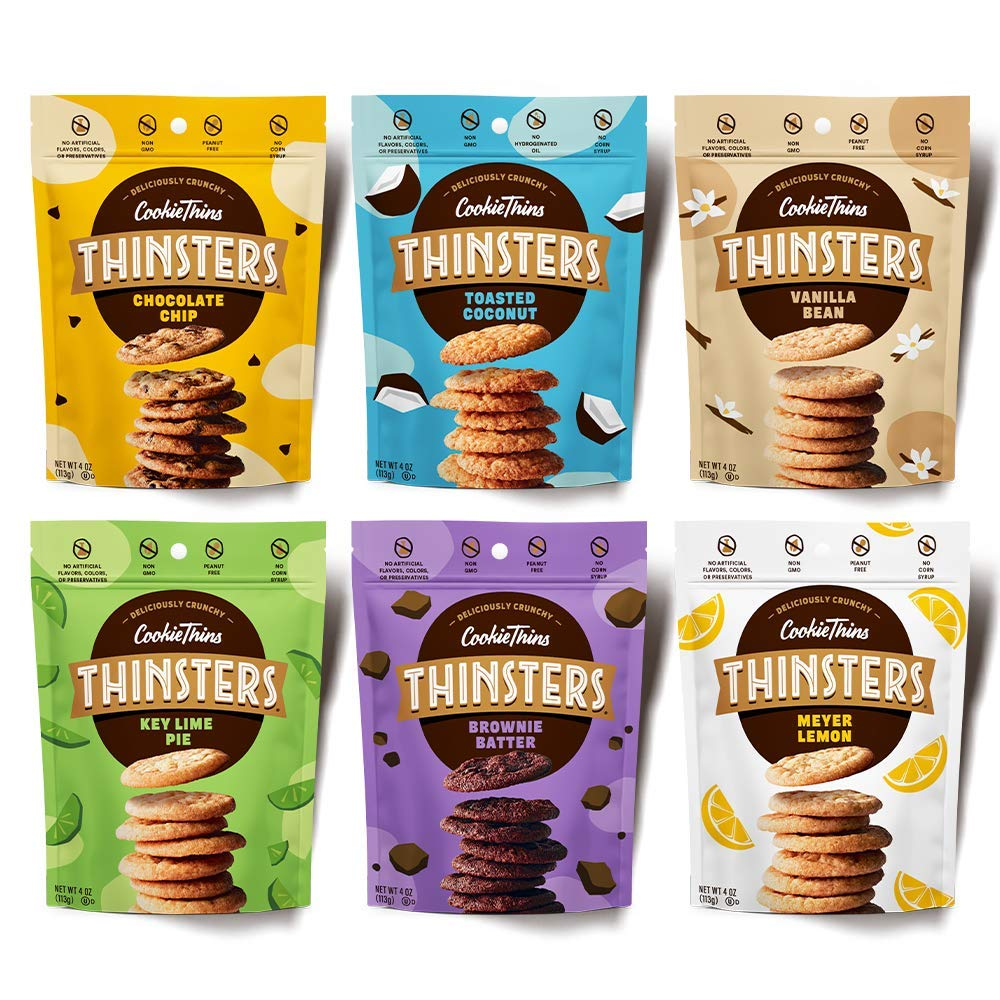 THINSTERS Cookies 6 Count Variety, 4oz Chocolate Chip, Toasted Coconut, Meyer Lemon, Brownie Batter, Vanilla Bean, Key Lime Pie, Non-GMO, Peanut Free, No Corn Syrup, Crunchy Cookies