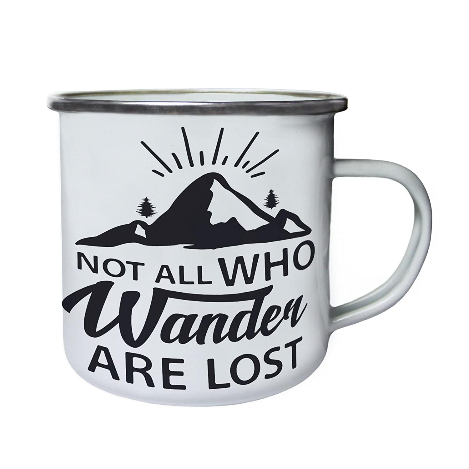 Not All Who Wander Are Lostレトロ、Tin、エナメル10ozマグn560e B0749DQYSY