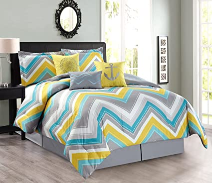 7-Piece Oversize Zigzag Designer Nautical Anchor Comforter Set Queen Size  Bedding With Decorative Pillows (Turquoise Blue, Yellow, Grey)