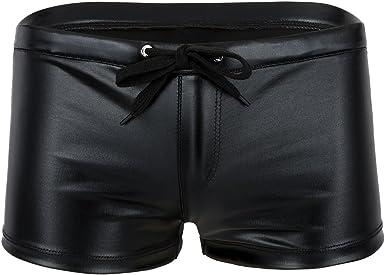 YUUMIN Mens Patent Leather Swim Trunks Shiny Metallic Wet Look Sports Beach Board Shorts Swimwear