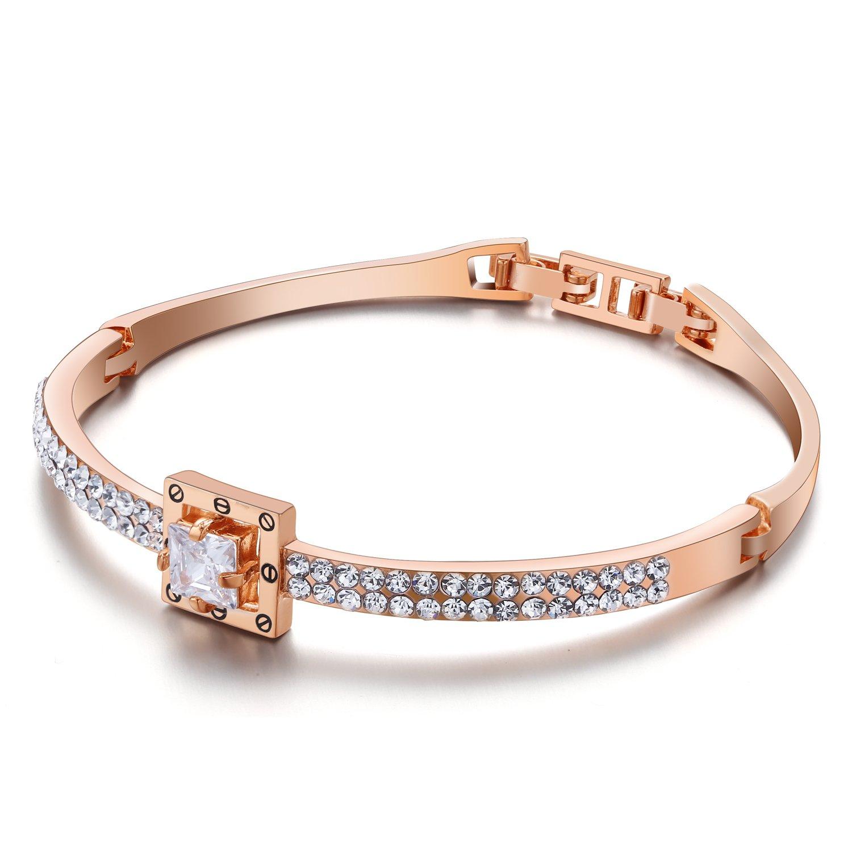 Menton Ezil Princess Crystal Bracelet Rose Gold Luxury Jewelry Adjustable Bangle Bracelets for Womens Girls Wife Anniversary Fashion Collections Loves Design by Menton Ezil (Image #2)