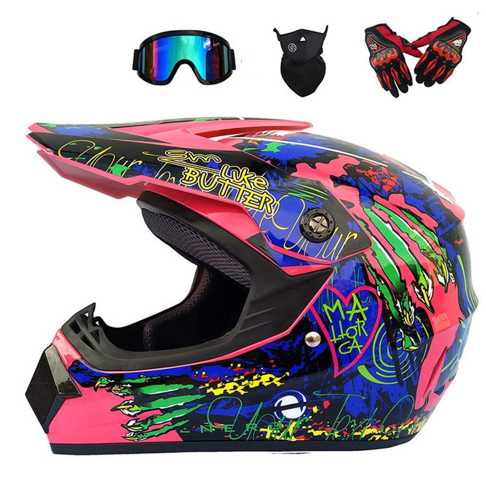 Motocross Helmet Beach Racing Helmet Mountain Bike All-Around Helmet Adult Men and Women (Gloves, Goggles, Masks, Set of 4) WMING