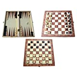 Shine 3 IN 1 Natural Wooden Folding Chess/Checkers/Backgammon Game with Staunton Pieces 34X34 CM