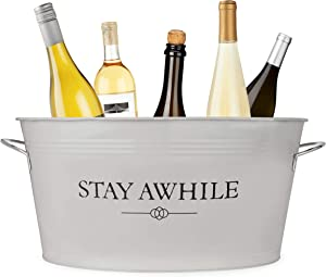 Twine Stay Awhile Metal Drink Decor, Ice Bucket And Galvanized Tub, 6.3 gallons, Cream