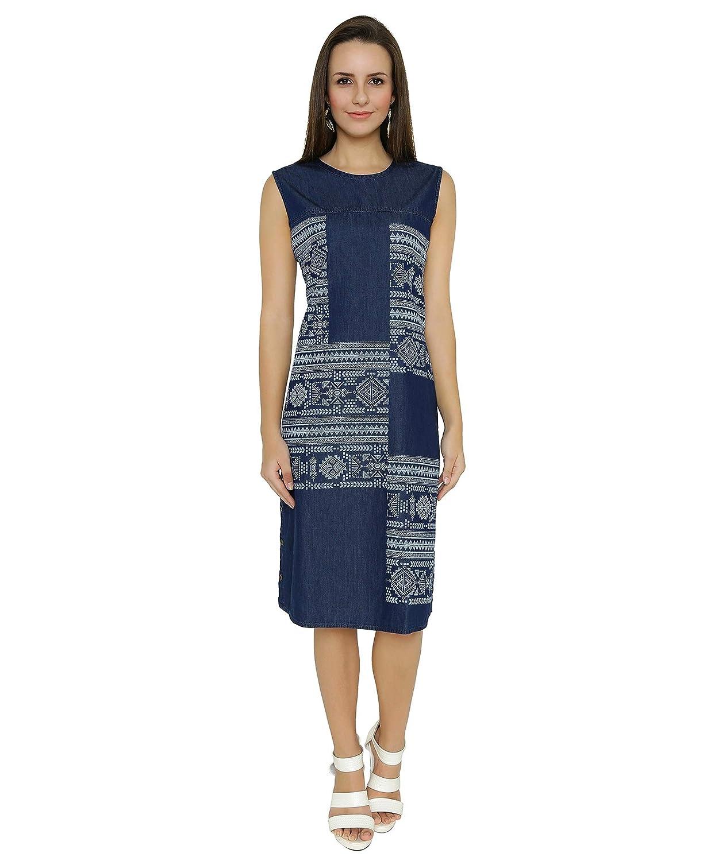 13ca8e21a0 Shokhi Dress for Women - One Piece Dress for Ladies - Denim Blue Dress - Sleeveless  Knee Length Dress Dresses for Ladies Dresses for Women  Amazon.in  ...