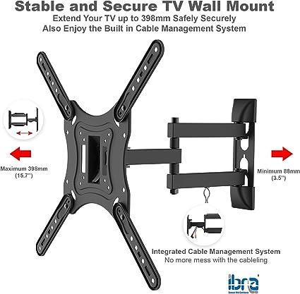 Supporto da parete ultra sottile inclinabile e girevole per TV da 23 a 55 pollici IBRA