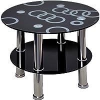 Table basse ronde - En verre de sécurité ESG de 8mm et acier inoxydable - Noire