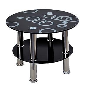 ts-ideen –Mesa auxiliar redonda (Cristal Esquina Mesa Mesa Negro con Acero inoxidable y vidrio de seguridad templado de 8mm