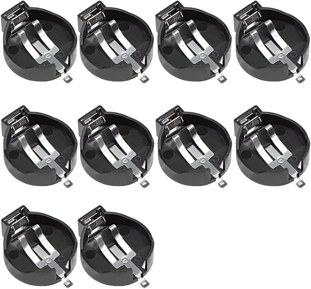 uxcell/® 10Pcs 3V CR 2450 Horizontal Coin Button Battery Holder Black Container Case
