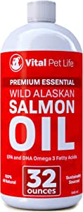 Salmon Oil for Dogs & Cats, Fish Oil Omega 3 EPA DHA Liquid Food Supplement for Pets, Wild Alaskan 100% All Natural, Supports Healthy Skin Coat & Joints, Natural Allergy & Inflammation Defense, 32 oz