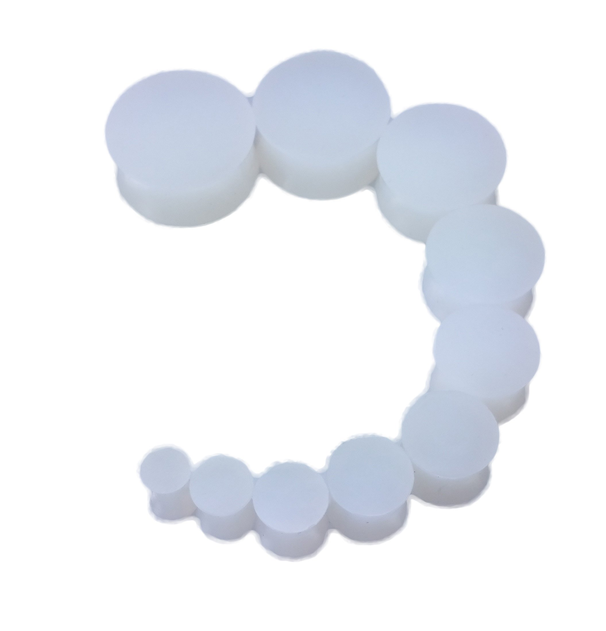 PAIR 8g-26mm Frosty Clear Solid Silicone Plugs Tunnels Gauges Double Flare (6g (4mm))