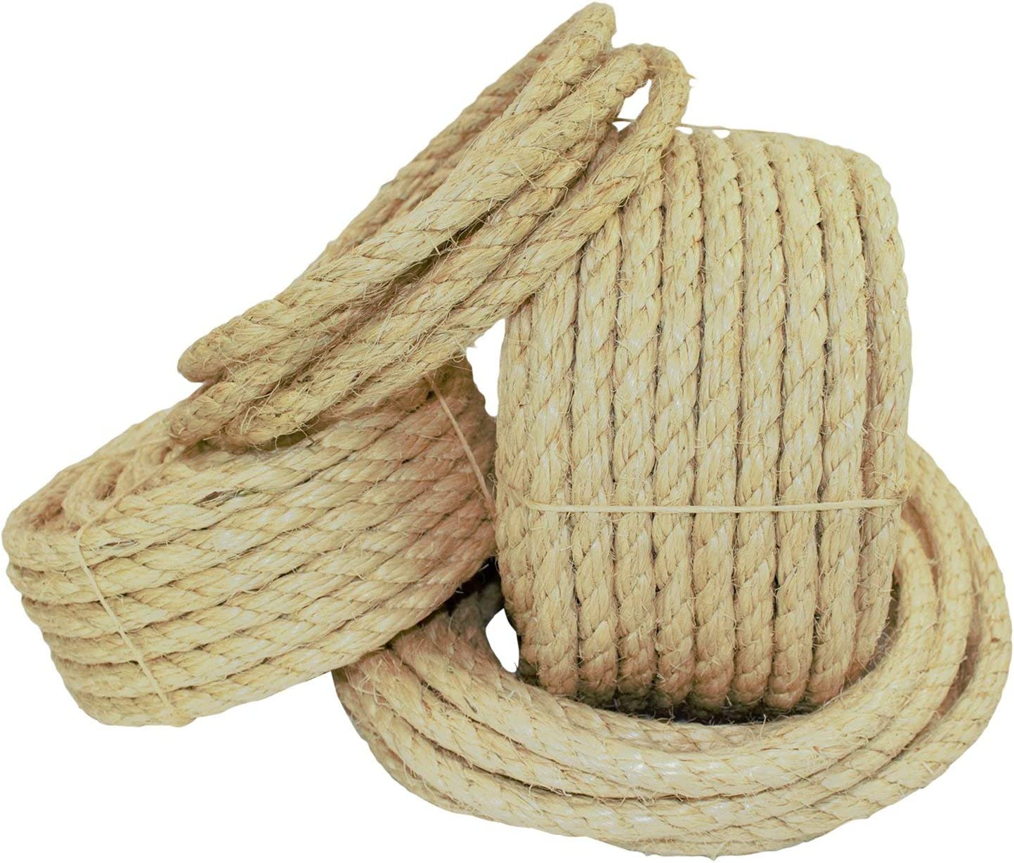 "SGT KNOTS Twisted Sisal Rope - Natural Fibers, Moisture & Weather Resistant Rope for Marine, Decor, Indoor/Outdoor Use (1/2"" x 10ft)"