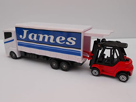 TOY LORRY AND FORK TRUCK PERSONALISED **ANY NAME** WHITE MODEL BOY GIRL MOM  DAD BIRTHDAY GIFT NEW & UNIQUE