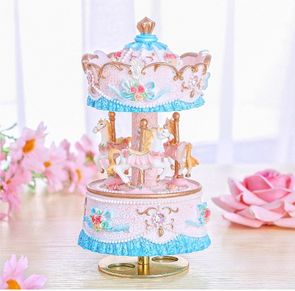 Jzk Luxury 3 Horse Carousel Spinning Music Box With Melody
