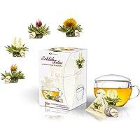 Creano Erblühni tealight Teebblumen zestaw upominkowy ze szklanką do herbaty i 8 kwiatami herbaty w formacie filiżanki…